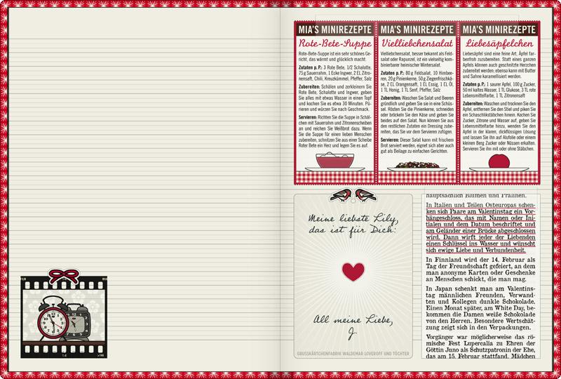 Lily Lux Notizbuch mit einem kleinen Liebesbrief oder Valentinstagskärtchen von Jack und Valentinsbräuchen aus aller Welt, wie Lovelocks als Vorhängeschlösser, der japanische White Day und die römischen Lupercalia zu Ehren der Göttin Juno, und mit Rezepten zum Valentinstag für Verliebte wie Rote-Bete-Suppe mit Herz, Vielliebchensalat mit Rapunzel oder Feldsalat und Himbeeren oder Liebesäpfel