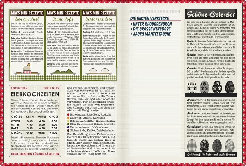 Seite im Lily Lux Notizbuch mit Rezepten zu Ostern wie Eier am Stiel, Grüne Soße oder Verlorene Eier, Infografik zu Eierkochzeiten, den besten Verstecken für Ostereier und Anleitungen zum Bemalen von Eiern als Batikeier, Ritzeier, Karoeier, Marmoreier, Struktureier oder Sprenkeleier