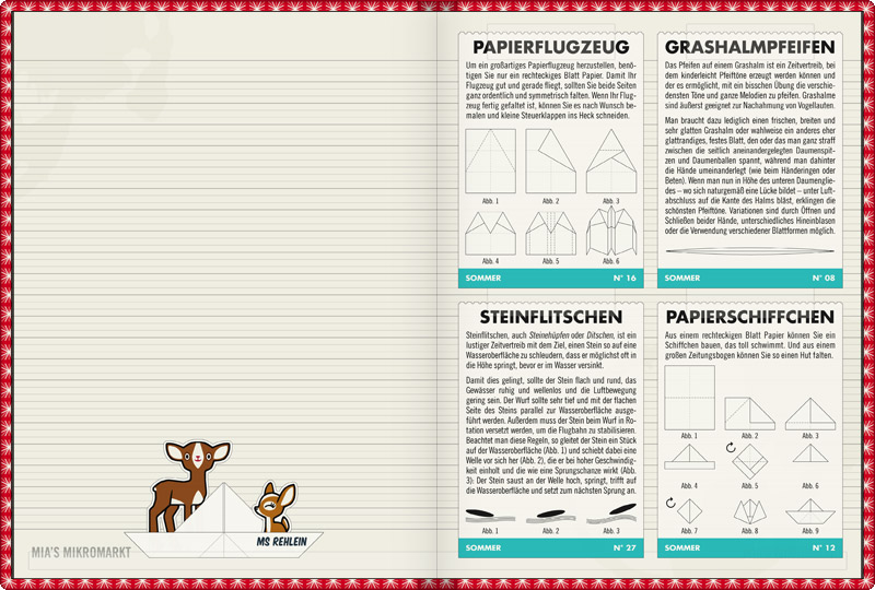 Anleitungen für Sommerspiele wie dem Pfeifen auf Grashalmen und dem Flitschen von Steinen auf Gewässern sowie zum Basteln und Falten von Papierschiffchen und Papierflugzeugen im Lily Lux Notizbuch