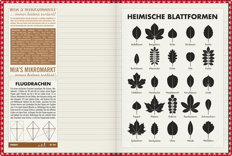 Page in Lily Lux Notizbuch with a practical sheet for Leaf Specification to identify common trees, such as apple, sycamore, birch, pear, beech, boxwood, rowan, oak, alder, ash, maple, hornbeam, hazel, lime, poplar, sycamore, black locust, horse chestnut, blackthorn, maple, holly, elm, willow or hawthorn, by their leaves.