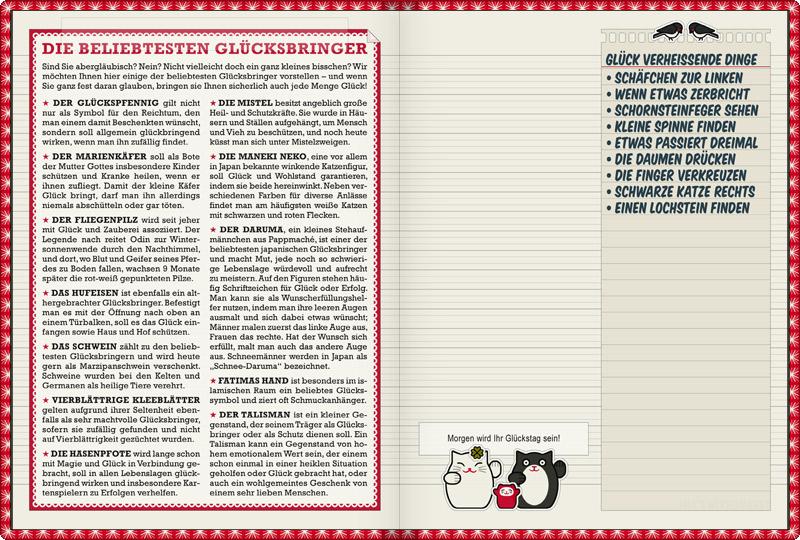 Lily Lux Notizbuch mit einer Sammlung von Glücksbringern wie Glückspfennnig, Marienkäfer, Fliegenpilz, Hufeisen, Schwein, Vierblättrige Kleeblätter (Glücksklee), Hasenpfote, Mistel, Maneki Neko, Daruma, Fatimas Hand und Talisman sowie deren Herkunft und Funktionsweise, und einer Liste von Glück verheissenden Dingen