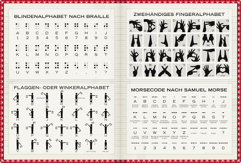 Visual Alphabets such as the Two-handed Finger Alphabet, Hand Alphabet or Sign Language, the Morse Code or Alphabet, the Flag Alphabet or Semaphore and the Blind Alphabet or Braille in Lily Lux Notizbuch