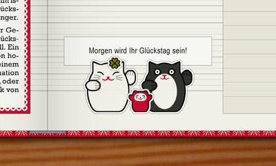 Lily Lux Notizbuch mit Winkekatzen Aufklebern und einem Glückskekszettel – Morgen wird Ihr Glückstag sein!