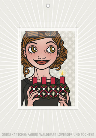 Elektronische Grußkarte von Lily Lux mit Passbild und Adventskranz