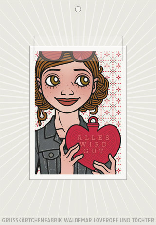 Elektronisches Grußkärtchen von Lily Lux mit einem Passbild mit Wärmherz und Alles wird gut