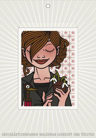 Lily Lux Elektronische Grußkarte mit Passbild, Schneeglöckchen und Regenschirm zur Frühjahrsmüdigkeit