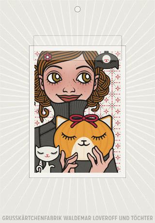 Lily Lux Elektronische Grußkärtchen Passbild mit Kürbislaterne als Mädchenkopf