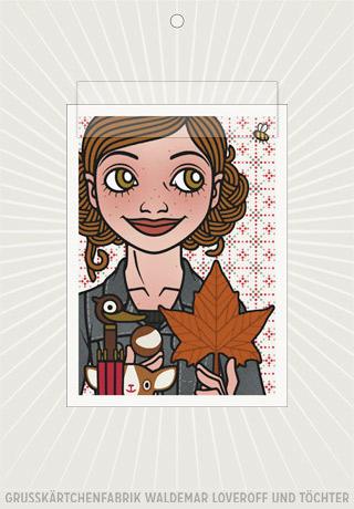 Elektronisches Grußkärtchen von Lily Lux mit einem Passbild mit Herbstlaub, Kastanie und Regenschirm