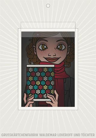 Elektronisches Grußkärtchen von Lily Lux mit einem Passbild mit leuchtender Laterne zum Martinstag
