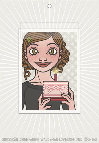 Lily Lux Elektronisches Grußkärtchen mit rosa Torte