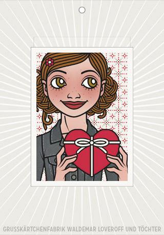 Lily Lux Elektronische Grußkarte mit Passbild und Herz zum Valentinstag