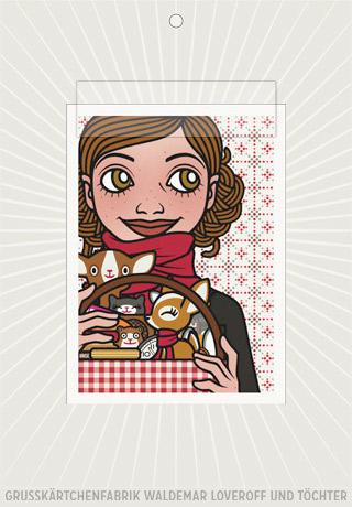 Lily Lux Elektronische Grußkarte mit Passbild und Picknickkorb für ein Winterpicknick