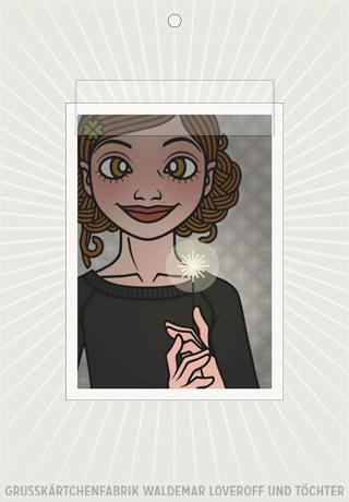 Lily Lux Elektronische Grußkärtchen Passbild mit Wunderkerze