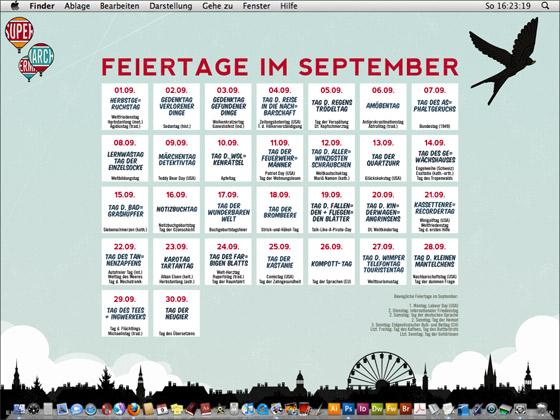 Lily Lux Wallpaper mit allen Feiertagen im September