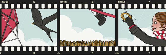 Fotostreifen mit Lily Lux im Herbst beim Drachensteigenlassen und Mitfliegen an einem stürmischen Tag