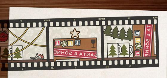 Lily Lux Passbildserie aus dem Fotoautomaten mit Paketen und Päckchen aus der Post für Weihnachten und einer wilden Party von Rehen, Winkekatzen, Nikoläusen, Weihnachtsmännern, Schneemännern und Rotkehlchen mit Weihnachtskugeln, Lametta, Tassen vom Weihnachtsmarkt, Tannengrün, Girlanden, Zimtsternen und Glühwein für Sven Elch und die Firma Santa and Sons im Blog der Illustrie