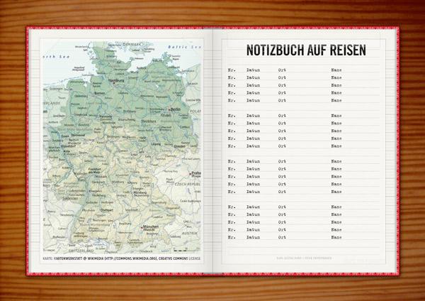 Einklebeseiten mit Grußworten, Landkarte, Logbuch und Reisebeschreibung für die Lily Lux Geocaching-Aktion Reisendes Notizbuch