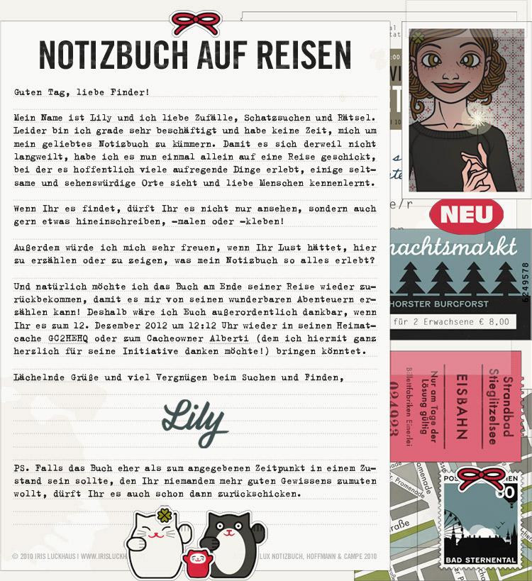 Collage für den Finder für die Lily Lux Geocaching-Aktion Reisendes Notizbuch