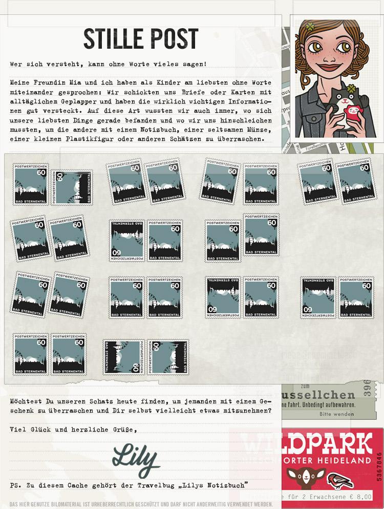Collage für das Rätsel zum Geocache Stille Post mit unserer Briefmarkensprache für die Lily Lux Geocaching-Aktion Reisendes Notizbuch