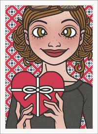 Lily Lux Passbild mit einem großen roten Herz voller Schokolade