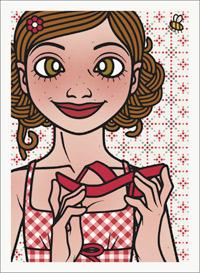 Lily Lux Passbild mit einem roten Flipflop