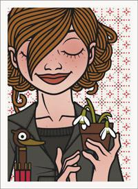 Lily Lux Passbild mit Schneeglöckchen