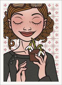Lily Lux Passbild mit einem kleinen Topf Schneeglöckchen