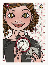 Lily Lux Passbild mit zwei Weckern zur Zeitumstellung
