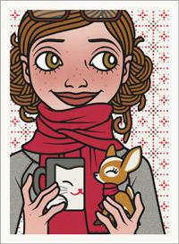 Lily Lux Passbild mit Grippe, Schal, Tee und Reh