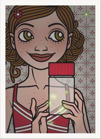 Lily Lux Passbild mit Glühwürmchen im Glas und um sich herum