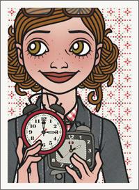 Lily Lux Passbild mit zwei Uhren zur Zeitumstellung