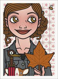 Lily Lux Passbild mit Blatt, Kastanie und Regenschirm