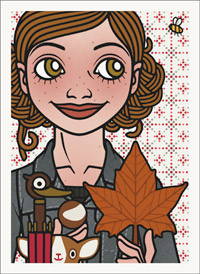 Lily Lux Passbild mit Herbstlaub, Schirm und Kastanie
