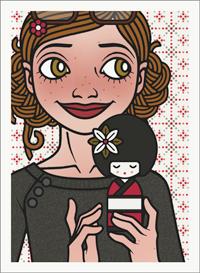 Lily Lux Passbild mit Püppchen zum Hina Matsuri Mädchenfest