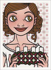 Lily Lux Passbild im Nachthemd und mit Adventskranz zum Luciatag