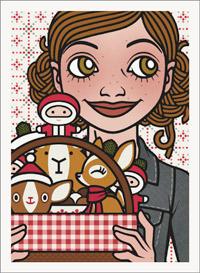 Lily Lux Passbild mit Picknickkorb im Winter