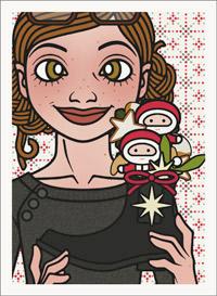 Lily Lux Passbild mit einem Schuh voller kleiner Geschenke wie Schokonikolaus, Zimtsterne, Vanillekipferl und Pfeffernuss, zum Nikolaus