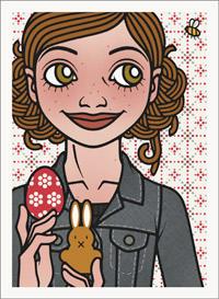 Lily Lux Passbild mit Osterei, Osterhase und Hummel