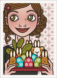 Lily Lux Passbild mit einem Tablett voller bemalter Ostereier und Osterhasen
