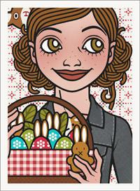 Lily Lux Passbild mit einem Picknickkorb voller bemalter Ostereier und Osterhasen