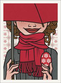 Lily Lux Passbild mit Osterei und Schirm