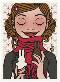 Lily Lux Passbild mit Osterhasen aus Schokolade