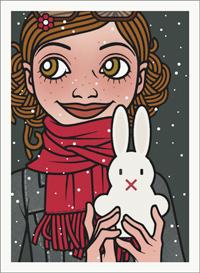Lily Lux Passbild im Schnee mit einem großen Osterhasen