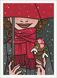 Lily Lux Passbild im Schnee mit Schirm, Osterei und Schneeglöckchen