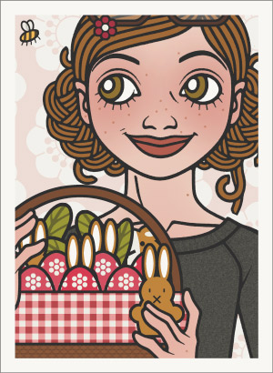 Lily Lux Passbild mit einem Picknickkorb voller bemalter Ostereier und einem Osterhasen in der Hand