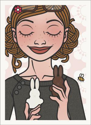 Lily Lux Passbild mit Ostereiern aus weißer Schokolade und Zartbitterschokolade mit Hummel