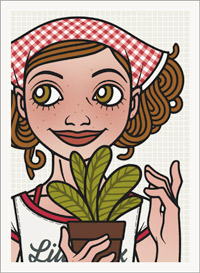 Lily Lux beim Gärtnern mit der Zimmerpflanze