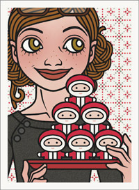 Lily Lux Passbild mit einem ganzen Berg von Schokoladennikoläusen