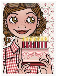 Lily Lux Passbild mit Torte und brennenden Kerzen obendrauf