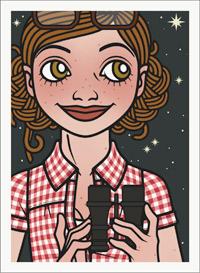 Lily Lux Passbild mit Fernglas, Sternenhimmel und Sternschnuppen